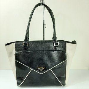 Kate Spade Black White Leather Tote Handbag Purse